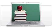 An open laptop displaying a stack of books crowned with an apple