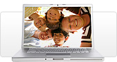 An open laptop displaying a bunch of happy kids